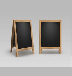 set wooden advertising stands sidewalk signs vector image