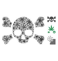 Skull crossbones collage of weed leaves vector