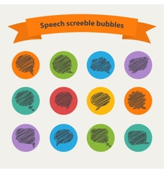 Speech black doodle scrabble bubbles vector image