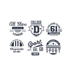 Sport college club logo design set vintage vector