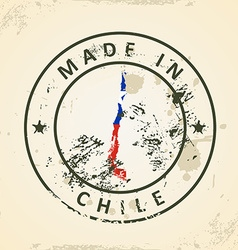 Stamp with map flag of Chile vector