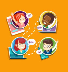 teacher with pupils in online education process vector image
