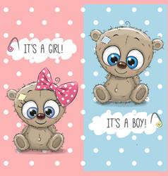 teddy bears boy and girl vector image