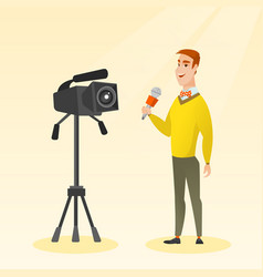 Tv reporter with a microphone and a camera vector