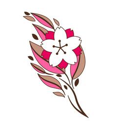 Twig sakura or cherry blossom vector