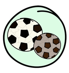 Two Soccer Balls on Green Round Background vector image