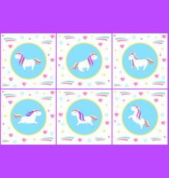 unicorn set creatures with drawn icons vector image