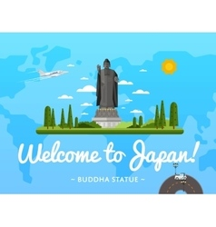 Welcome to Japan poster with famous attraction vector