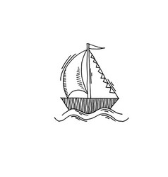yacht sketch drawing icon summer themed vector image