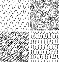 Abstract scribble patterns set vector image