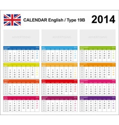 Calendar 2014 English Type 19B vector image vector image