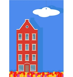 Cardboard house and tulips on a blue background vector image