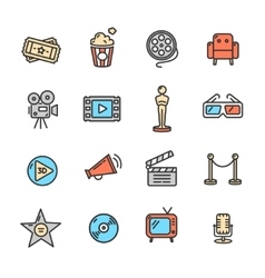 Cinema Colorful Outline Icon Set vector image