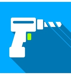 Drill Flat Long Shadow Square Icon vector image