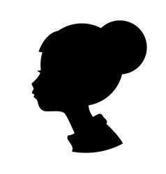 silhouette head girl black shape isolated on vector image