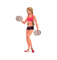 woman bodybuilder weightlifter working out vector image vector image