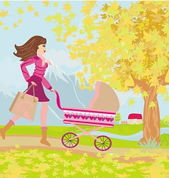 Young mom taking her baby for a stroll through vector image