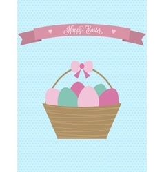 Easter card Easter basket with eggs vector image