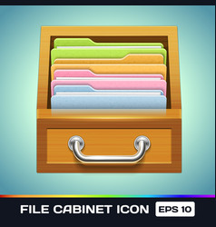 File Cabinet with Folders Icon vector image vector image