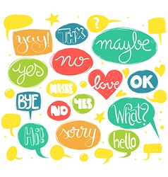 Hand drawn words in sketchy speech bubbles vector image