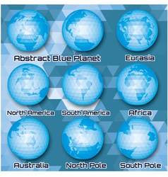 set of polygonal abstract globes vector image