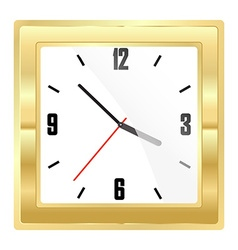 square mechanical gold watch with a white dial and vector image