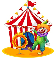 A tent at the back of the clown and the ring of vector image vector image