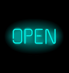 open realistic neon inscription light sign on vector image vector image