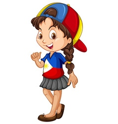Philippines girl wearing a cap vector image vector image