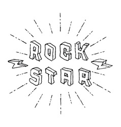 Rock Star badge - original lettering with vector image vector image