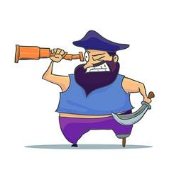 Cartoon one-legged Pirate with Spyglass vector image