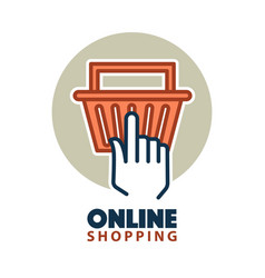 hand clicking on a basket vector image vector image
