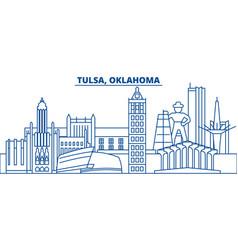 usa oklahoma tulsa winter city skyline merry vector image vector image