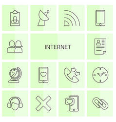 14 internet icons vector image