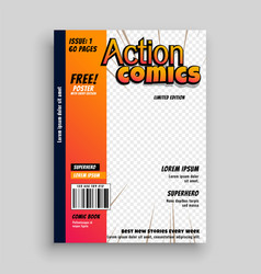 action comic book cover page template design vector image