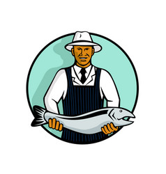African american fishmonger holding trout vector