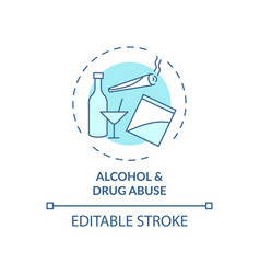 Alcohol and drug abuse blue concept icon vector