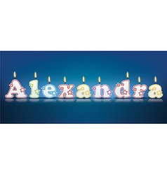 ALEXANDRA written with burning candles vector