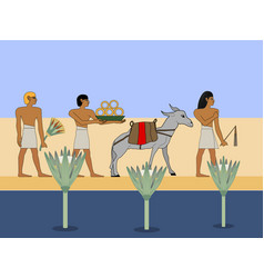 ancient egypt caravan travels through the desert vector image