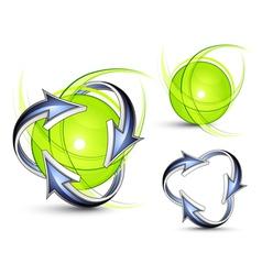 Arrows orbiting spheres vector