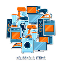 Background with home appliances household items vector