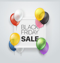 black friday sale banner with white frame and vector image