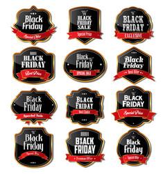 black friday sale labels vector image