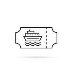 black thin line marine ticket for boat vector image