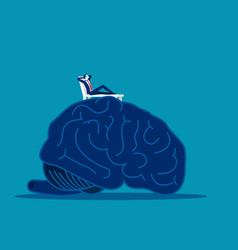 Brain relax man relax on top large brain vector