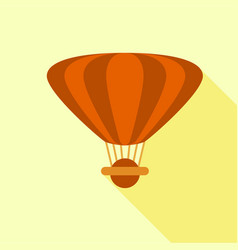 brown hot air balloon icon flat style vector image