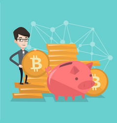 Businessman putting a bitcoin coin into piggy bank vector