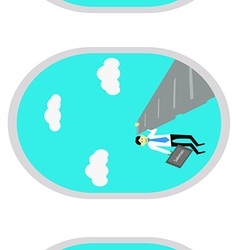 Businessman selling passenger on the plane vector image
