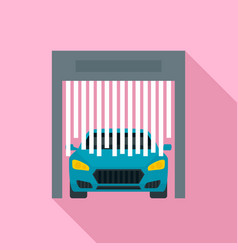 Car exit from wash garage icon flat style vector