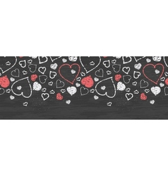 Chalkboard art hearts horizontal border seamless vector